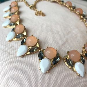 Peach, white and gray stone costume necklace
